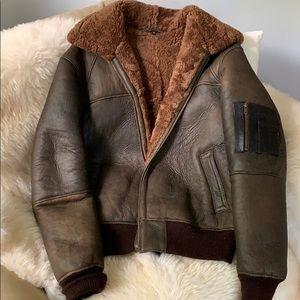 Men's Overland leather bomber style coat